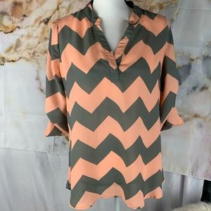 3 for $20 SALE | Rue 21 coral/grey striped shirt